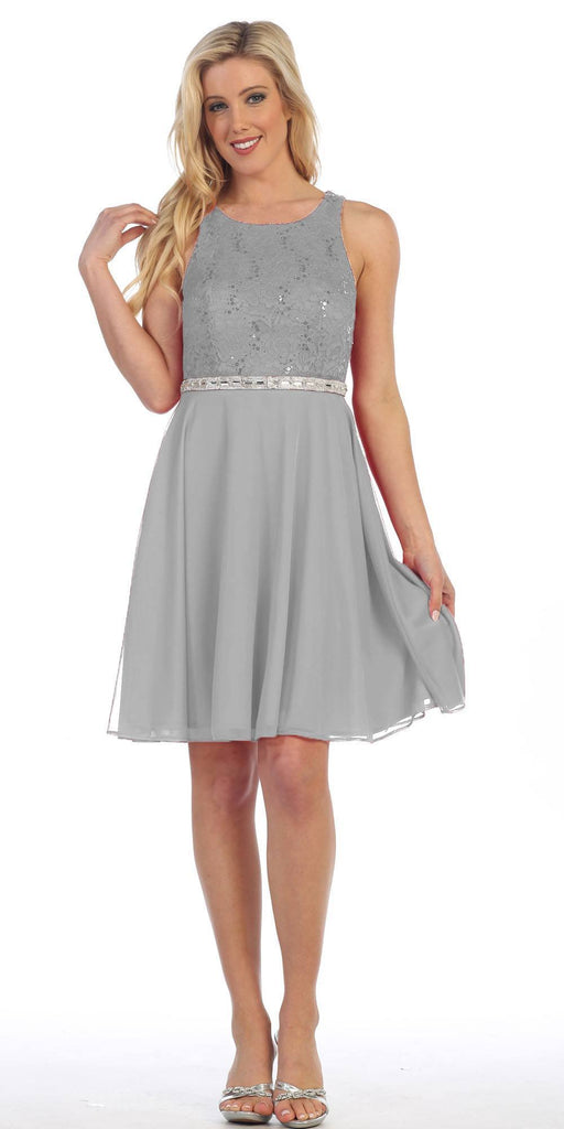 Celavie 6253 Scoop Neck Lace Top Knee-Length Cocktail Dress Silver