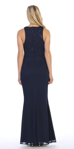 Navy Blue Long Formal Dress Embellished Waist