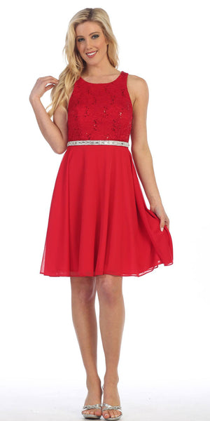 Red Lace Bodice Sleeveless Short Cocktail Dress Embellished Waist