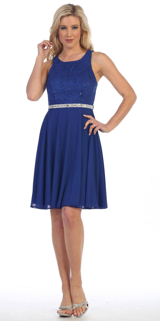 Royal Blue Lace Bodice Sleeveless Short Cocktail Dress Embellished Waist