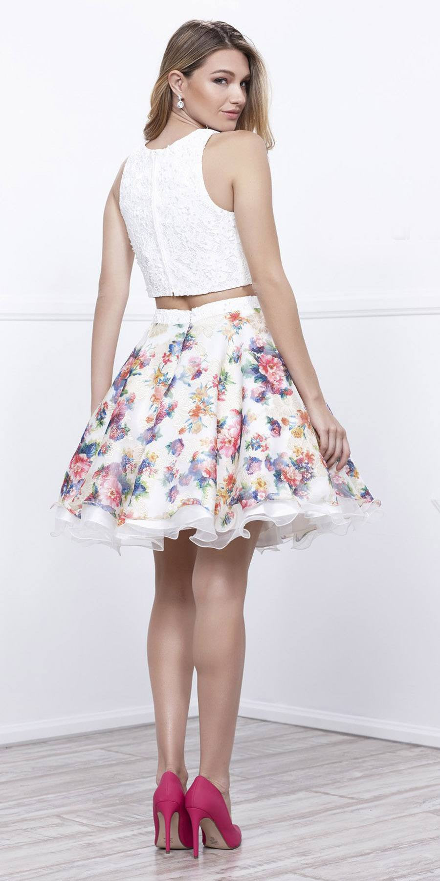 73d936bd7 Two-Piece Short Homecoming Dress Floral Printed Skirt White Sleeveless