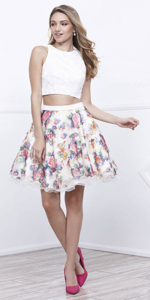 Two-Piece Short Homecoming Dress Floral Printed Skirt White Sleeveless