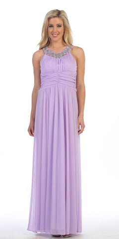 Rhinestone Neckline Ruched Chiffon Formal Gown Lilac Empire Waist