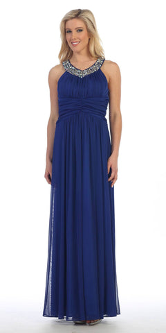 Rhinestone Neckline Ruched Chiffon Formal Gown Royal Blue Empire Waist