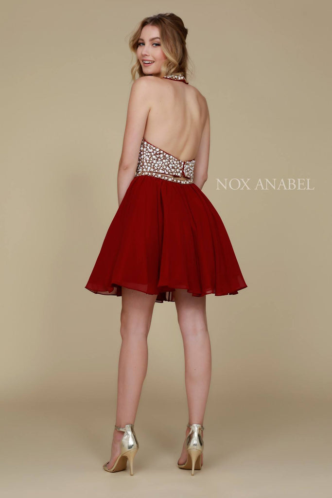 Nox Anabel 6257 Burgundy 2 Piece Short Party Dress Halter Beaded Top
