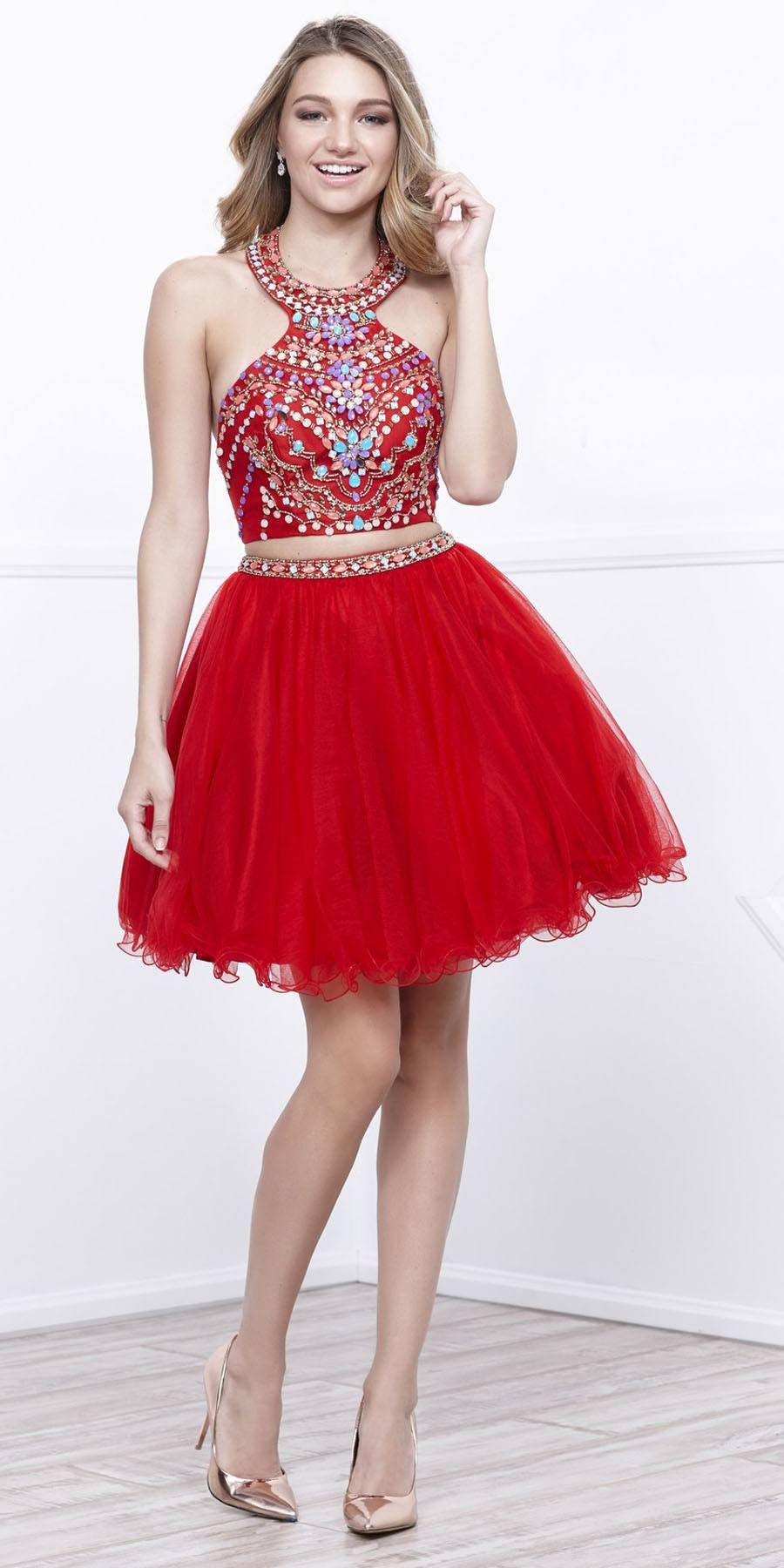 Ice Blue Two Piece Halter Homecoming Dress Beaded Crop Top
