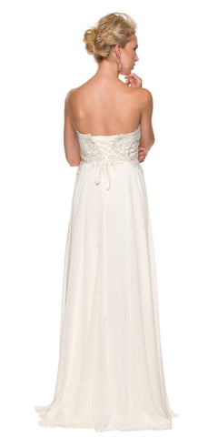 Juliet 626 Strapless A-Line Formal Dress with Appliqued Bodice Ivory
