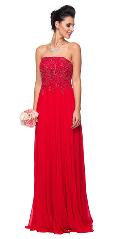 Juliet 626 Strapless A-Line Formal Dress with Appliqued Bodice Red