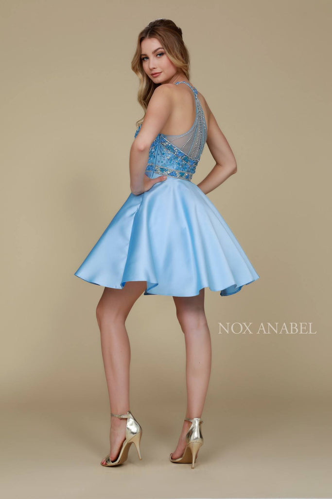 Nox Anabel 6262 Ice Blue Short Halter Party A-Line Dress Illusion Neck
