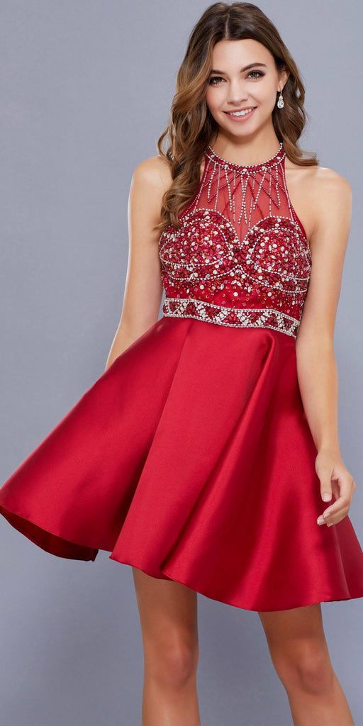 Illusion Sweetheart Neckline Halter Homecoming Short Dress Burgundy