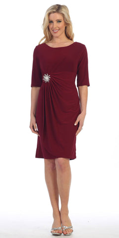 Burgundy Quarter Sleeves Round Neck Embellished Short Cocktail Dress