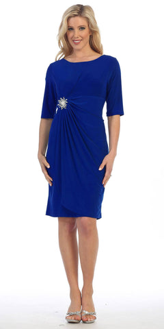 Royal Blue Quarter Sleeves Round Neck Embellished Short Cocktail Dress