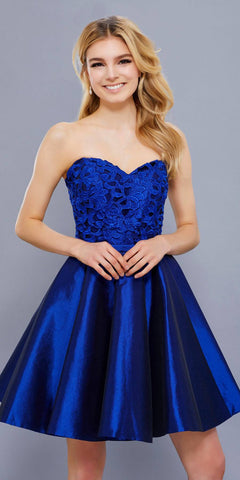 Navy Strapless Lace Applique Bodice Pleated Skirt Short Prom Dress