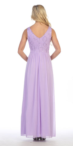 Long Chiffon Evening Gown Lilac Lace Sequin Top Mesh Side Cut Outs Back