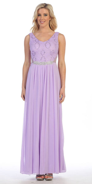 Long Chiffon Evening Gown Lilac Lace Sequin Top Mesh Side Cut Outs