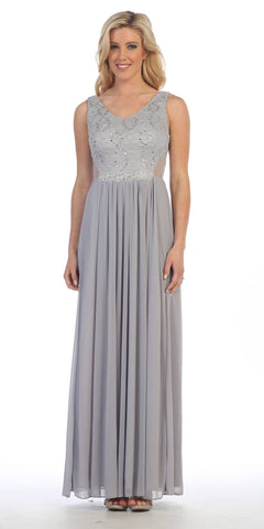 Long Chiffon Evening Gown Silver Lace Sequin Top Mesh Side Cut Outs