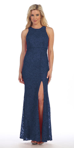 Celavie 6269 Navy Fit and Flare with Slit Long Formal Dress Sleeveless