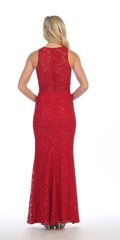 Celavie 6269 Red Fit and Flare with Slit Long Formal Dress Sleeveless