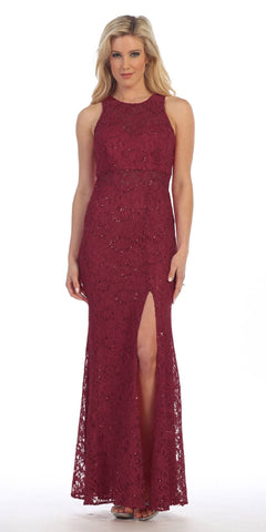 Sexy Long Lace Evening Gown Burgundy Front Slit Illusion Waistline