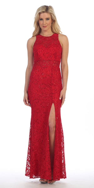 Sexy Long Lace Evening Gown Red Front Slit Illusion Waistline