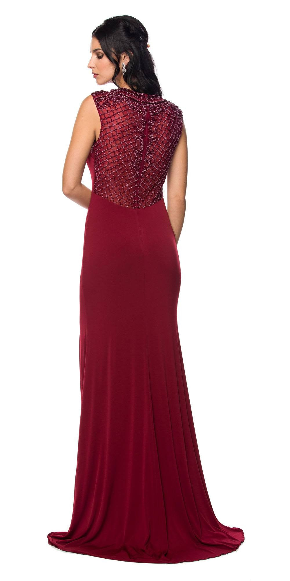 Juliet 627 Wine ITY Cap Sleeves Evening Gown Illusion Beaded ...