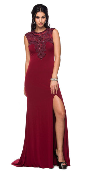 Juliet 627 Wine ITY Cap Sleeves Evening Gown Illusion Beaded Neckline
