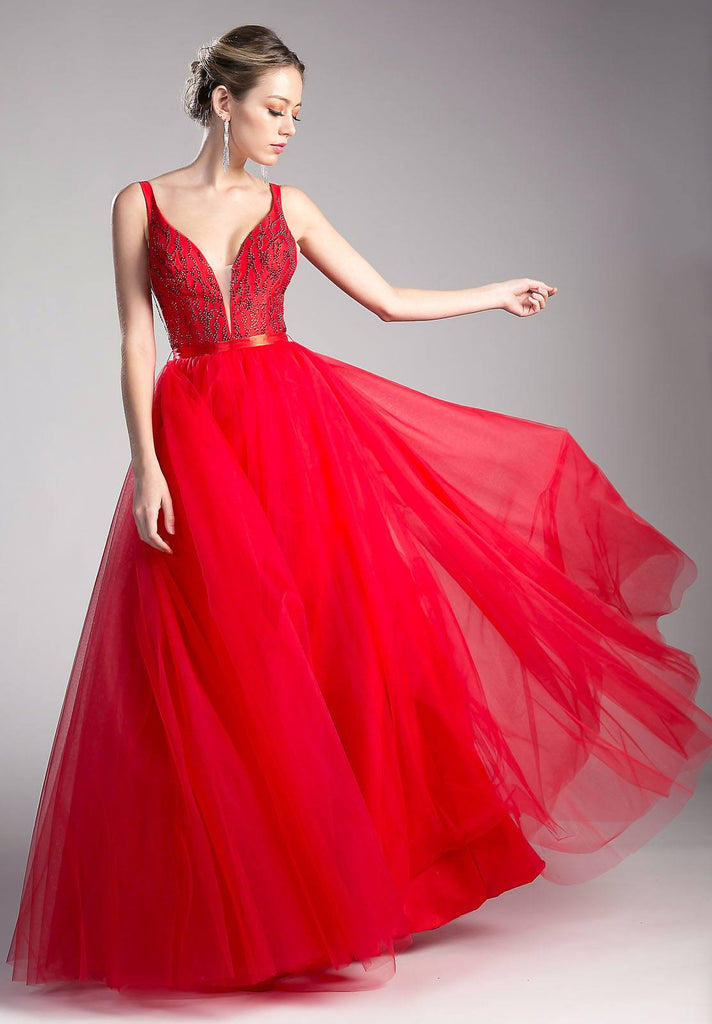 V-Back Beaded Red Ball Gown with Sheer Cut Out