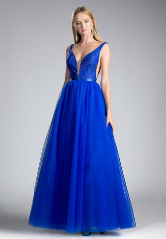 V-Back Beaded Royal Blue Ball Gown with Sheer Cut Out