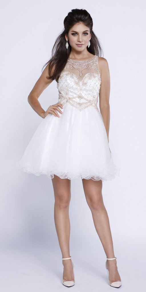 Nox Anabel 6270 Ivory/Gold Short A-Line Tulle Dress Poofy Sleeveless