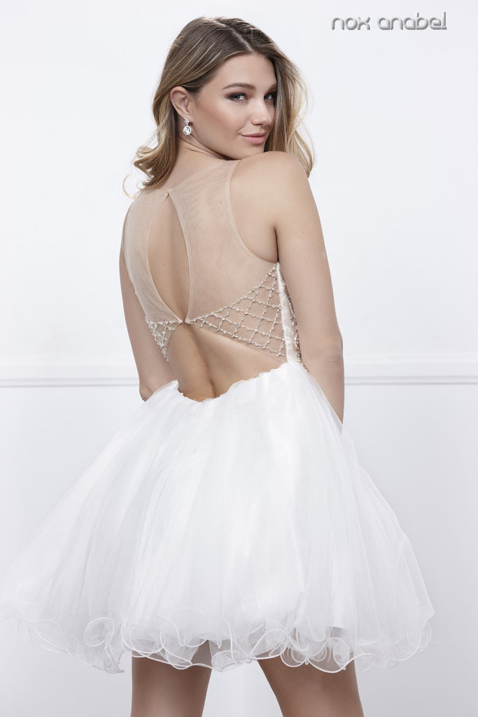 Ivory Illusion Cut Out Back Short Homecoming Dress Sleeveless