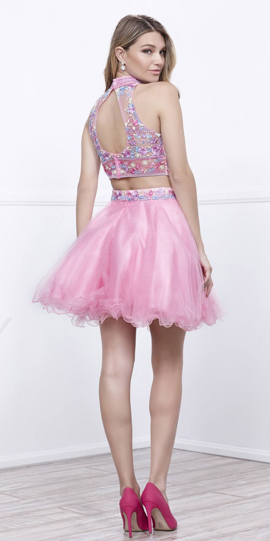2882efcd820 Baby Pink Embroidered Crop Top Two-Piece Homecoming Dress Keyhole Back