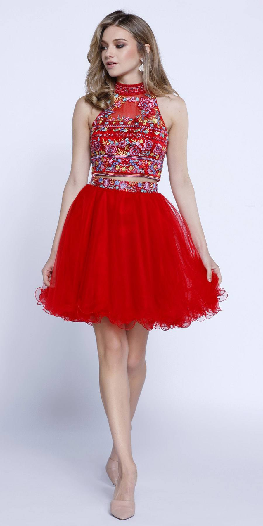 f3a2d21c454 ... Red Embroidered Crop Top Two-Piece Homecoming Dress Keyhole Back ...