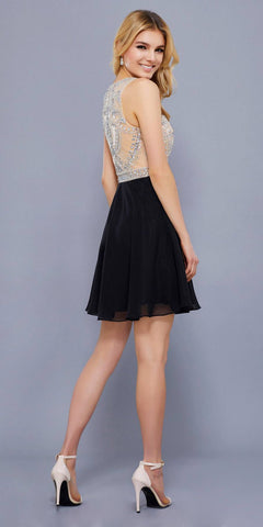 Sleeveless Embellished Top A-line Homecoming Short Dress Black Nude