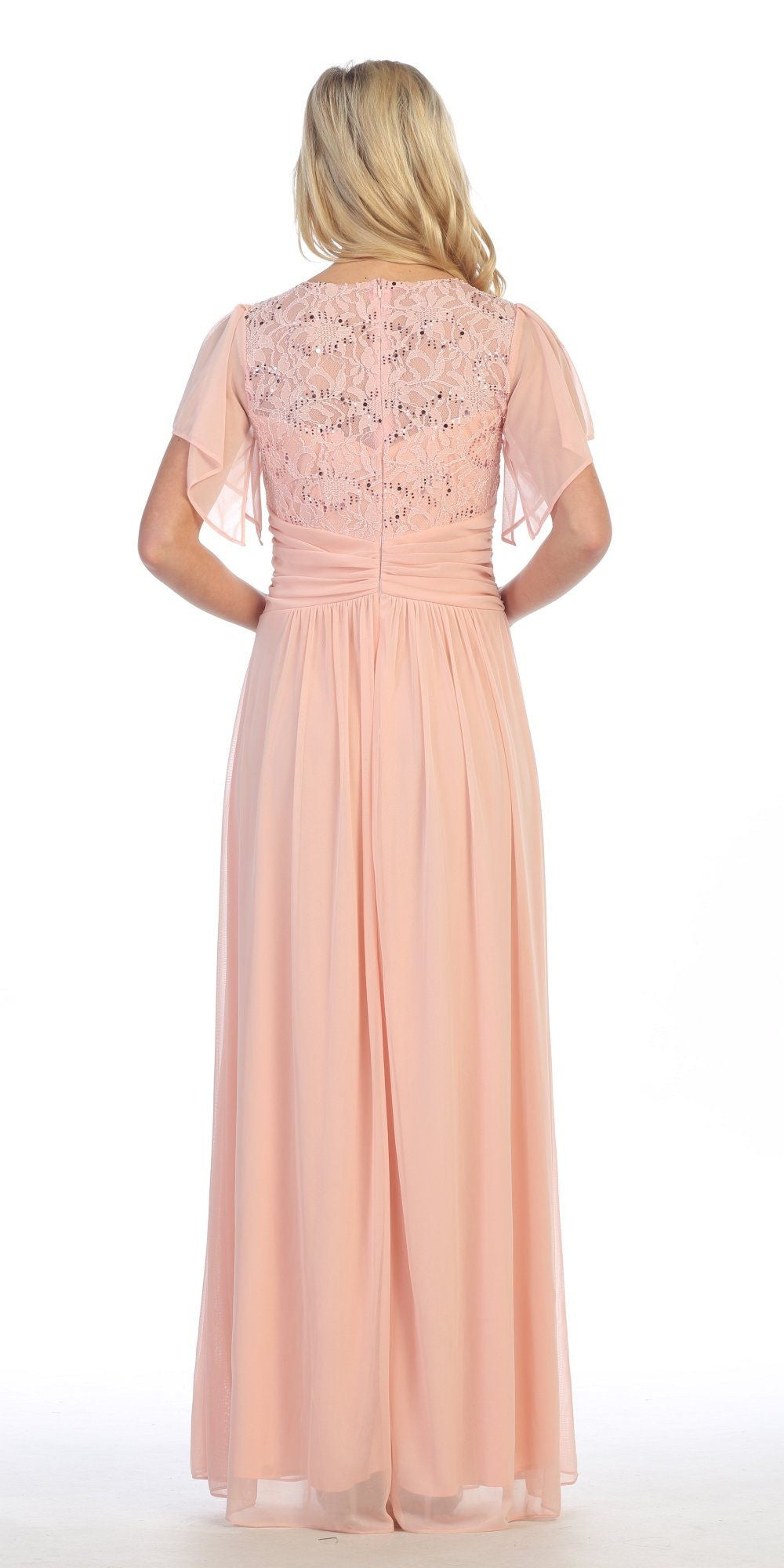Long Chiffon Short Sleeve Semi Formal Dress Blush Lace Top Sequins Back
