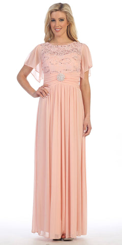 Long Chiffon Short Sleeve Semi Formal Dress Blush Lace Top Sequins