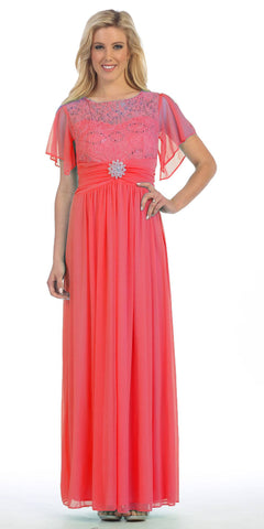 Long Chiffon Short Sleeve Semi Formal Dress Coral Lace Top Sequins
