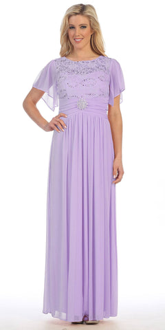 Long Chiffon Short Sleeve Semi Formal Dress Lilac Lace Top Sequins