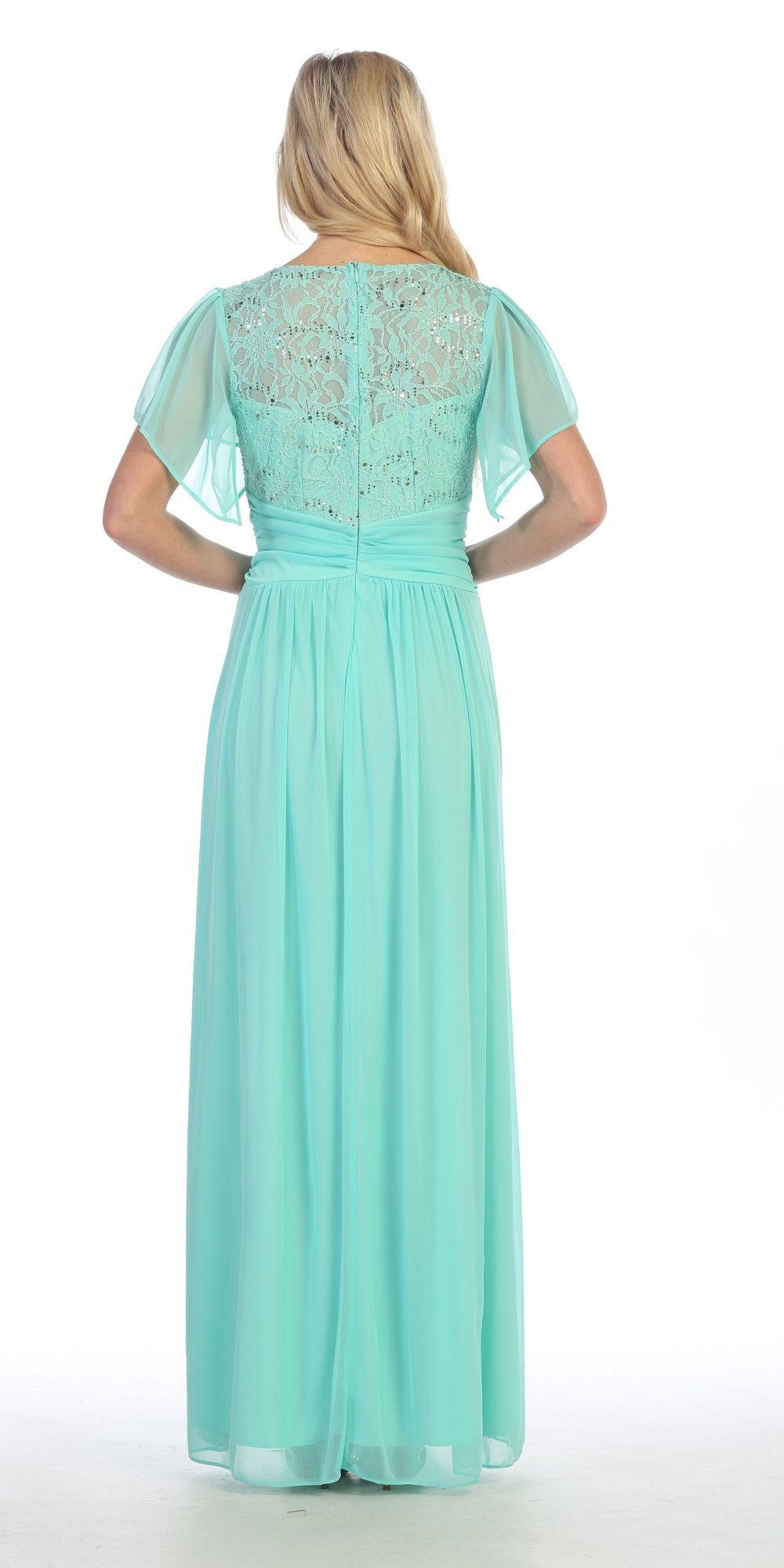 Long Chiffon Short Sleeve Semi Formal Dress Mint Lace Top Sequins Back View