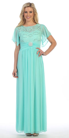 Long Chiffon Short Sleeve Semi Formal Dress Mint Lace Top Sequins
