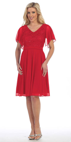 V-Neck Lace Bodice Chiffon Flared Sleeves Knee-Length Dress Red