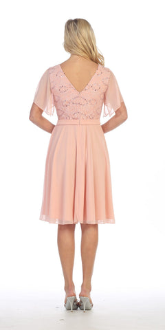 V-Neck Lace Bodice Chiffon Flared Sleeves Knee-Length Dress Blush Back