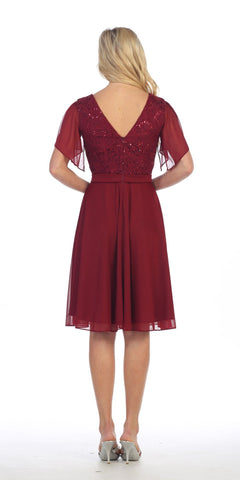 V-Neck Lace Bodice Chiffon Flared Sleeves Knee-Length Dress Burgundy Back