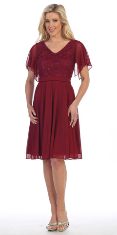 V-Neck Lace Bodice Chiffon Flared Sleeves Knee-Length Dress Burgundy