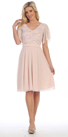 V-Neck Lace Bodice Chiffon Flared Sleeves Knee-Length Dress Champagne