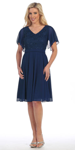 V-Neck Lace Bodice Chiffon Flared Sleeves Knee-Length Dress Navy Blue