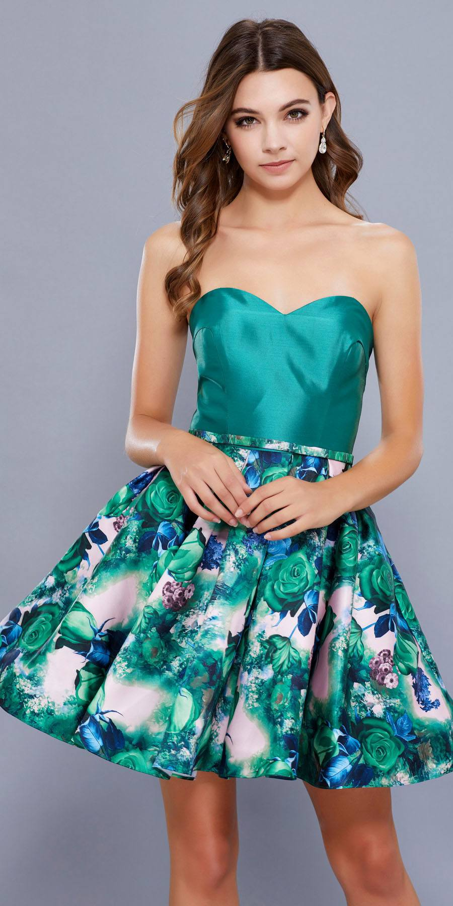 2b561f673ad Sweetheart Neckline Floral Printed Skirt Strapless Homecoming Dress Green.  Tap to expand