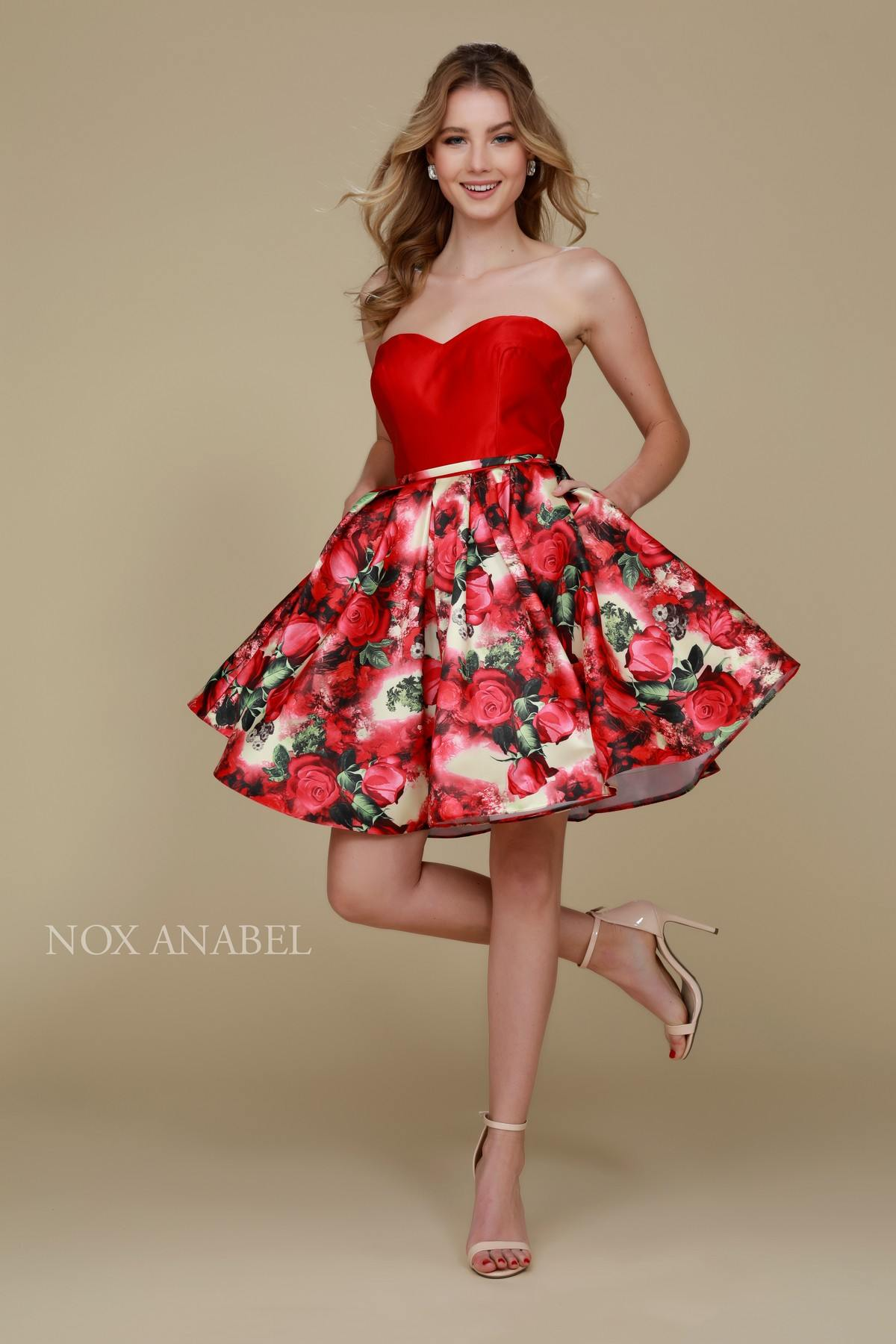 33e530ab9bf Sweetheart Neckline Floral Printed Skirt Strapless Homecoming Dress ...