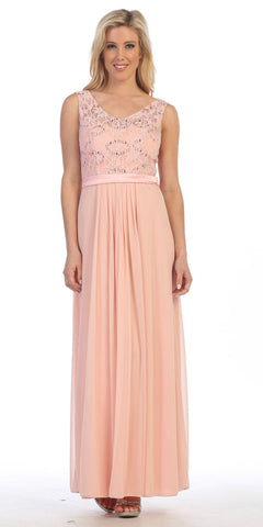 Blush Lace Bodice Sleeveless Long Formal Dress V-Neckline