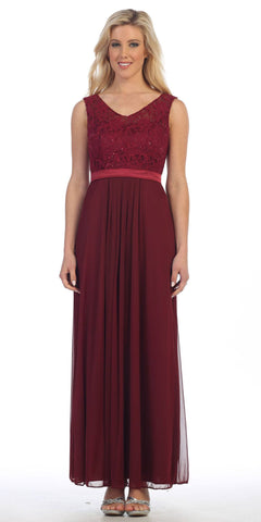 Burgundy Lace Bodice Sleeveless Long Formal Dress V-Neckline