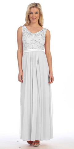 Ivory Lace Bodice Sleeveless Long Formal Dress V-Neckline